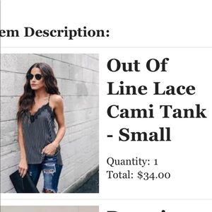 """VICI """"Out Of Line"""" Lace Cami Tank Top"""
